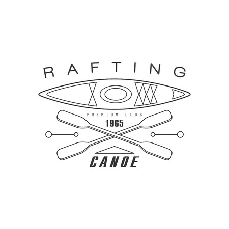 established: Rafting Canoe Club Emblem Classic Style Vector   With Calligraphic Text On White Background