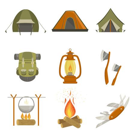 キャンプ関連オブジェクトを白い背景に分離されたかわいい楽しい漫画スタイルのシンプルなデザインのイラストのセット  イラスト・ベクター素材