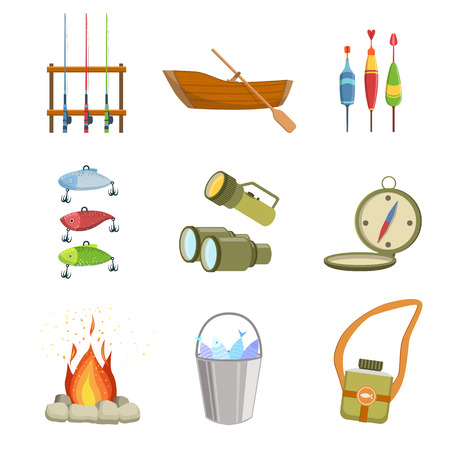 peddle: Fishing And Camping Equipment Set Of Simple Design Illustrations In Cute Fun Cartoon Style Isolated On White Background Illustration