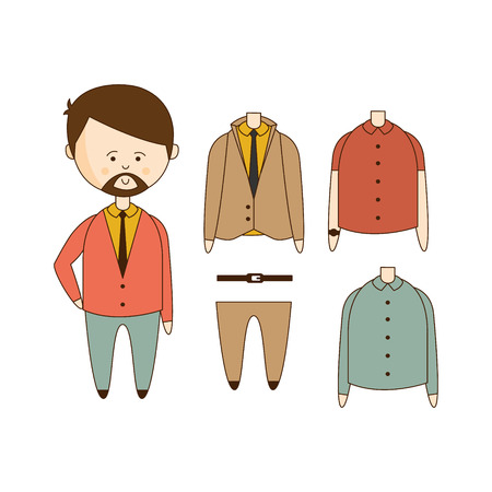 outlined isolated: MAn With Beard Wardrobe Flat Outlined Hand Drawn Icons Set In Fun Comic Style Isolated On White Background