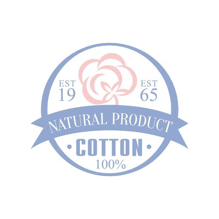 established: Cotton Natural Product Vector Classic Style Design On White Background Illustration