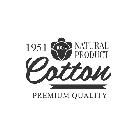 established: Cotton Black And White Product Vector Classic Style Design On White Background