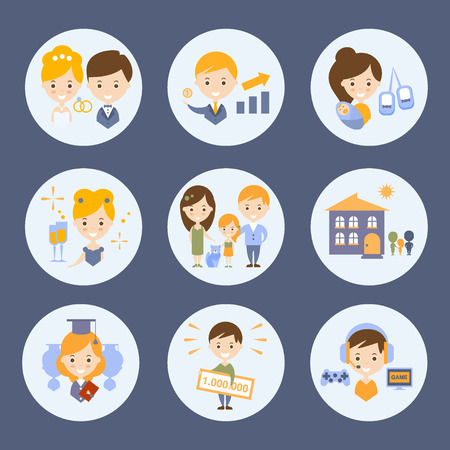 People And Their Ideas Of Happiness Set Flat Childish Colorful Design Cute Vector Illustration