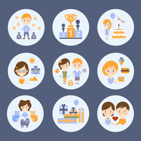 wining: Different People And Their Happiness Flat Childish Colorful Design Cute Vector Illustration Illustration