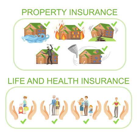 theft prevention: Property, Life And Health Insurance Infographic Poster In Simple Flat Bright Color Style On White Background