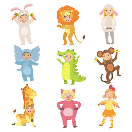 Kids In Animal Costumes Set Of Simple Design Illustrations In Cute Fun Cartoon Style Isolated On White Background