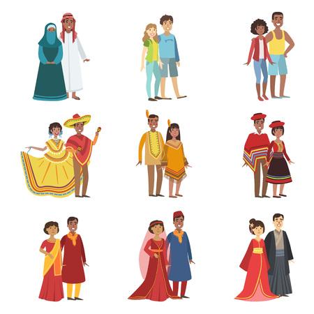 traje mexicano: Las parejas en ropa nacional Conjunto De Diseño simple de las ilustraciones en estilo de dibujos animados lindo divertido aislados en fondo blanco Vectores