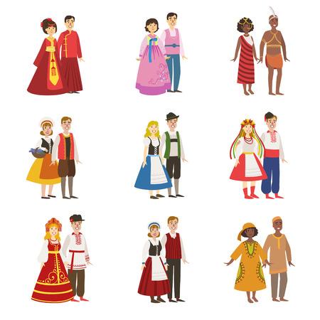Casais vestindo trajes nacionais conjunto de ilustrações de Design simples em estilo divertido bonito dos desenhos animados, isolado no fundo branco Ilustración de vector
