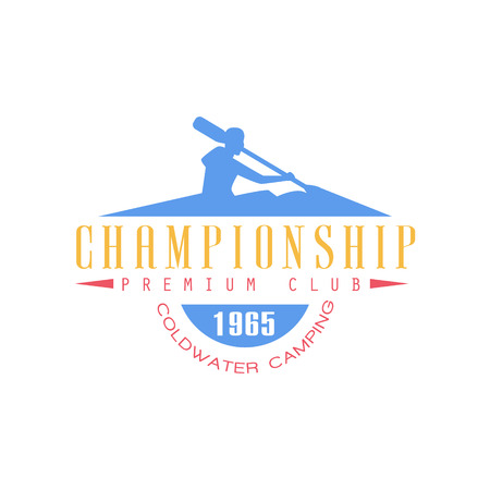 Rafting Championship Emblem Classic Style With Calligraphic Text On White Background