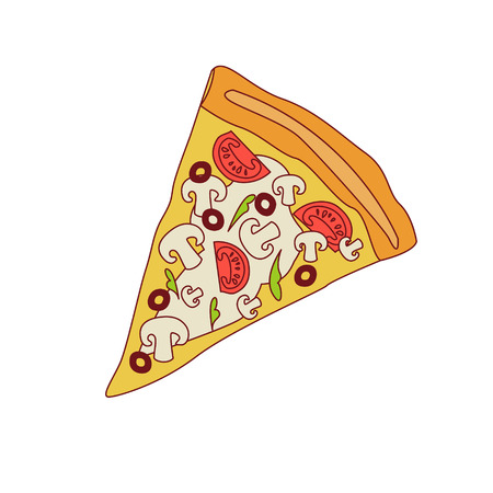 outlined isolated: Pizza Slice With Mushrooms And Tomato Cartoon Outlined Simplified Flat Vector Illustration Isolated On White Background Illustration
