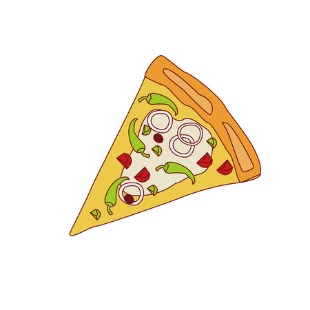 onion slice: Pizza Slice With Chili And Onion Cartoon Outlined Simplified Flat Vector Illustration Isolated On White Background