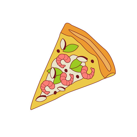 outlined isolated: Pizza Slice With Shrimps Cartoon Outlined Simplified Flat Vector Illustration Isolated On White Background