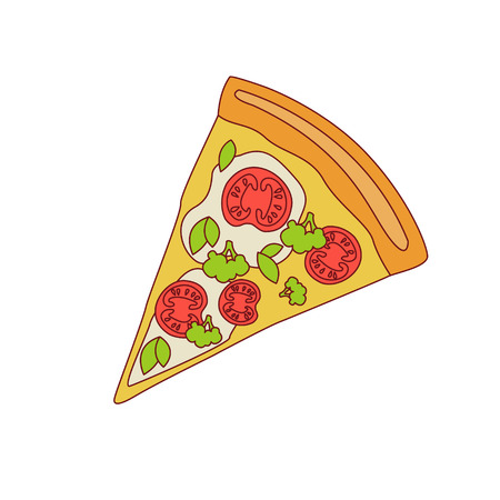 outlined isolated: Pizza Slice With Tomato And Broccoli Cartoon Outlined Simplified Flat Vector Illustration Isolated On White Background
