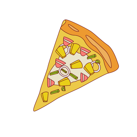 outlined isolated: Pizza Slice With Pineapple And Bacon Cartoon Outlined Simplified Flat Vector Illustration Isolated On White Background
