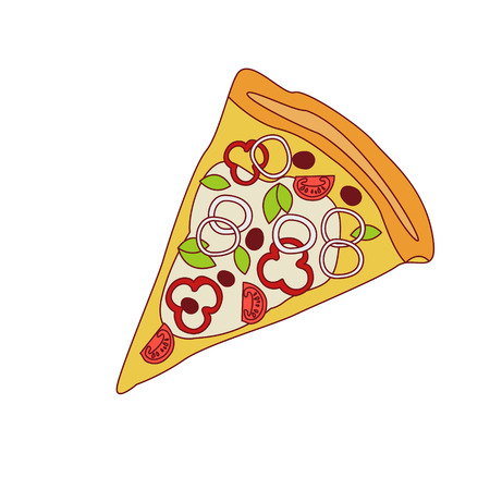 onion slice: Pizza Slice With Sweet Pepper And Onion Cartoon Outlined Simplified Flat Vector Illustration Isolated On White Background