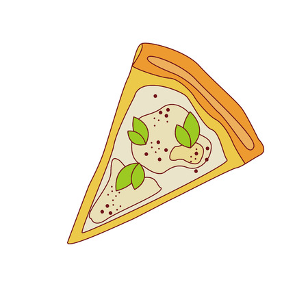 cheese cartoon: Pizza Slice With Four Cheese Cartoon Outlined Simplified Flat Vector Illustration Isolated On White Background