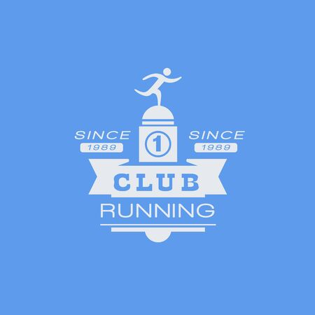 established: Running Club Blue Label Vector Design Print In Bright Color On White Background