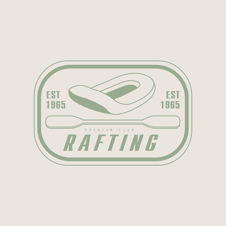 peddle: Rafting Emblem Classic Style Vector With Calligraphic Text On White Background
