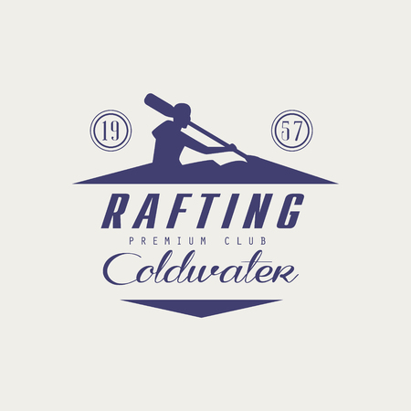 coldwater: Coldwater Rafting Emblem Classic Style Vector  With Calligraphic Text On White Background