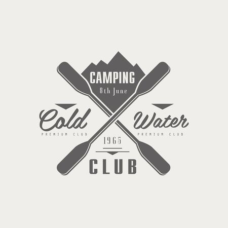 coldwater: Coldwater Camping Club Emblem Classic Style Vector With Calligraphic Text On White Background Illustration