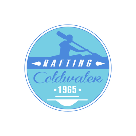 coldwater: Rafting Coldwater Blue Emblem Classic Style Vector With Calligraphic Text On White Background Illustration