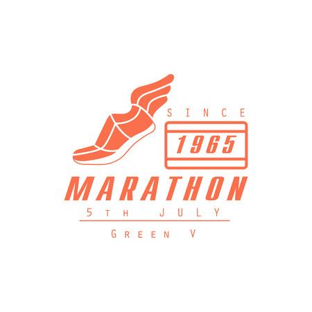 established: Marathon Running Orange Label Vector Design Print In Bright Color On White Background Illustration