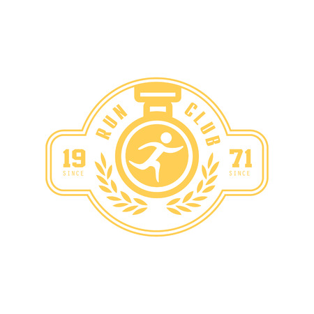 established: Run Club Yellow Label Vector Design Print In Bright Color On White Background