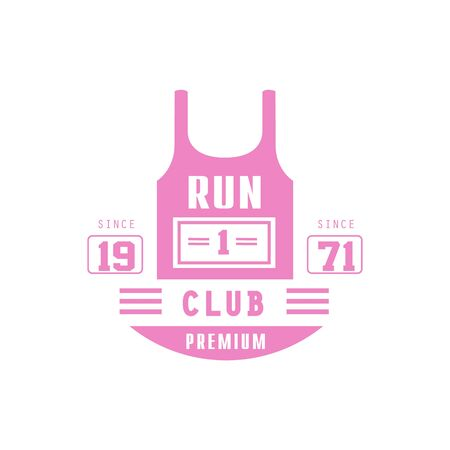 established: Run Club Pink Label Vector Design Print In Bright Color On White Background