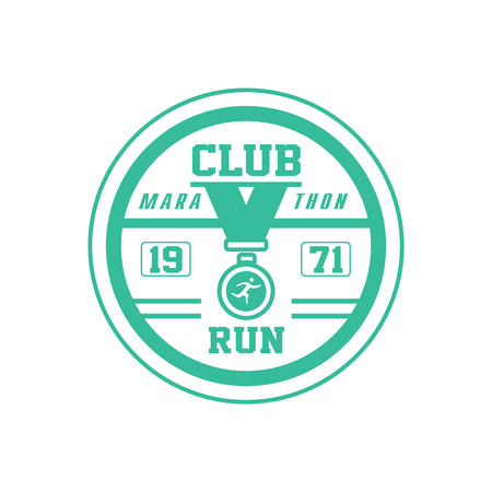 established: Running Club Green Label Vector Design Print In Bright Color On White Background