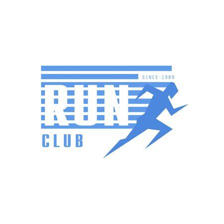 established: Run Club Blue Label Vector Design Print In Bright Color On White Background Illustration