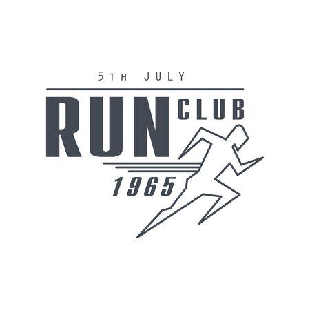 established: Run Club Black Label Vector Design Print In Bright Color On White Background