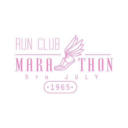 established: Marathon Running Pink Label Vector Design Print In Bright Color On White Background