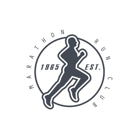 established: Marathon Run Club Black Label Vector Design Print In Bright Color On White Background