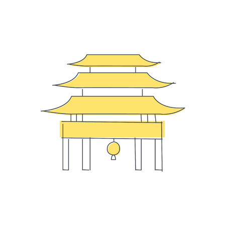iconic architecture: Chinese Pagoda Temple Building Light Color Flat Cute Illustration In Simplified Outlined Vector Design