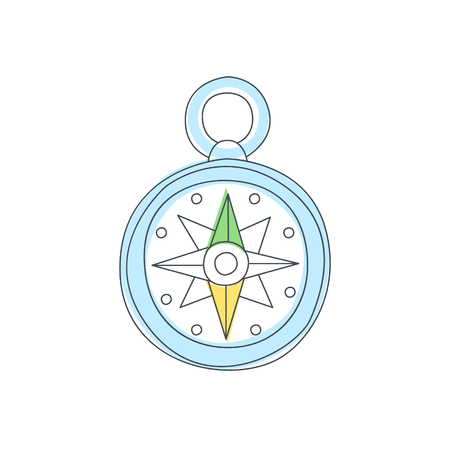 direction magnet: Old-school Compas With Wind Rose Light Color Flat Cute Illustration In Simplified Outlined Vector Design