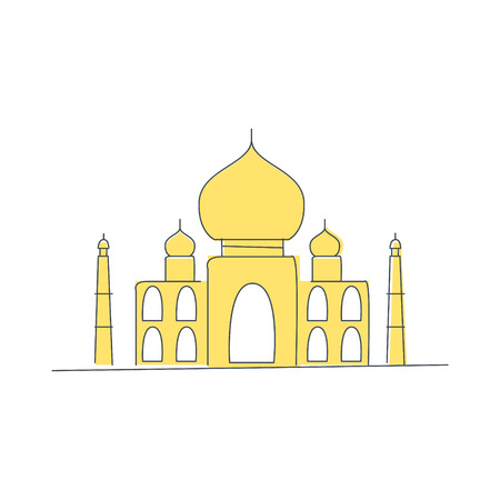 iconic architecture: Taj Mahal Building In India Light Color Flat Cute Illustration In Simplified Outlined Vector Design