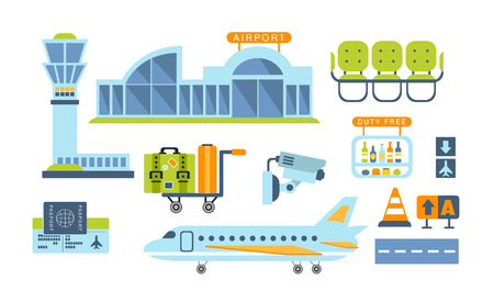 tableau: Airport Related Objects Set Of Simplified Flat Cartoon Style Vector Stickers Isolated On White Background Illustration