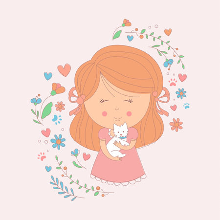 Girl Holding A Small White Dog Surrounded By Hearts And Flowers Childish Sweet Cartoon Simple Style Vector Illustration For The Card On White Background Stock Vector - 59492854