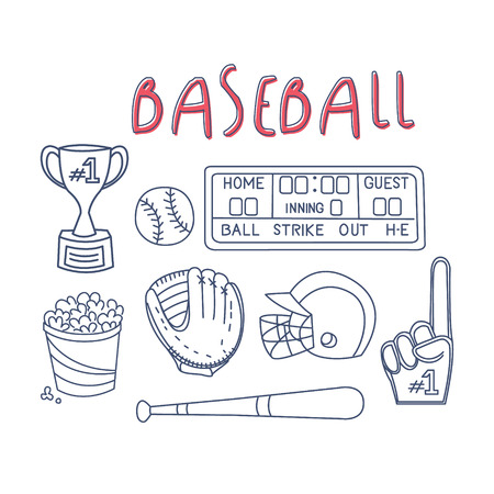 Baseball Related Object And Equipment Set With Text Hand Drawn Simple Vector Illustration Is Sketch Style Illustration