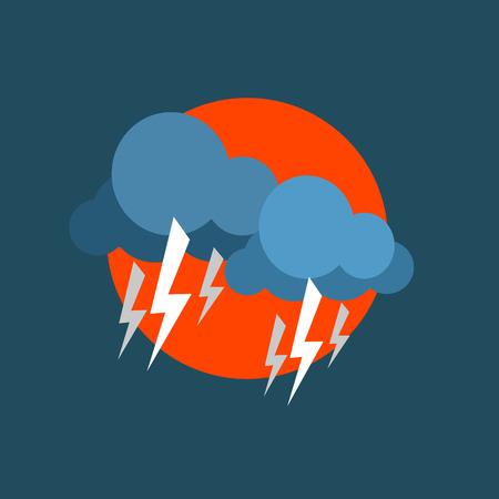 natural force: Strong Lightning Storm Natural Force Flat Vector Simplified Style Graphic Design Icon Isolated On Blue Background