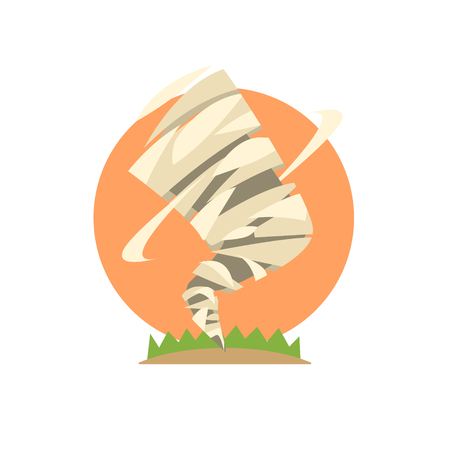 natural force: Tornado Natural Force Sticker Flat Vector Simplified Style Graphic Design Icon Isolated On White Background