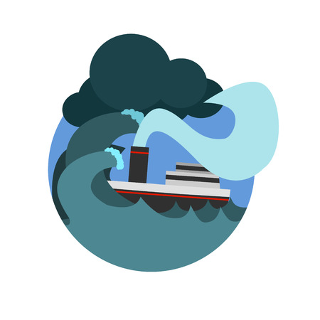 major ocean: Havy Gale Sinking The Ship Natural Force Flat Vector Simplified Style Graphic Design Icon Isolated On White Background