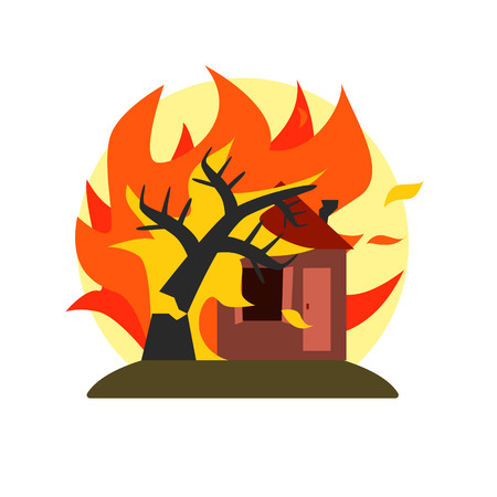 conflagration: Burning Tree Falling On House Natural Force Flat Vector Simplified Style Graphic Design Icon Isolated On White Background