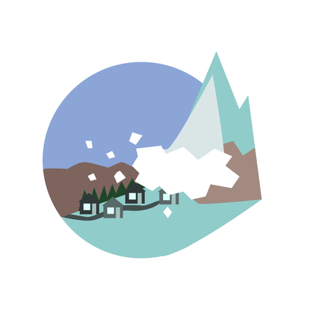 unexpected: Avalanche Destroying The Village Natural Force Flat Vector Simplified Style Graphic Design Icon Isolated On White Background