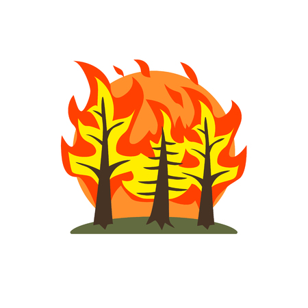 conflagration: Forest Fire Natural Force Flat Vector Simplified Style Graphic Design Icon Isolated On White Background