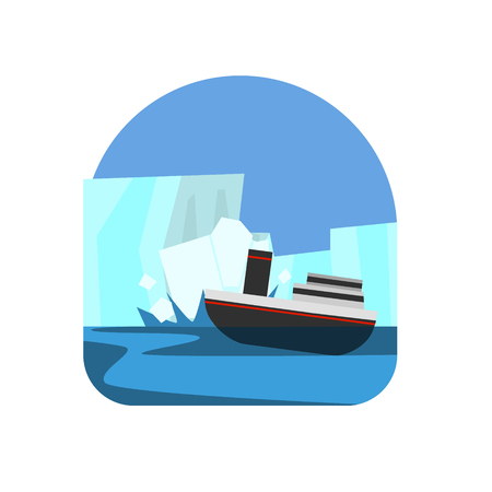 natural forces: Ship Hitting The Iceberg Natural Force Flat Vector Simplified Style Graphic Design Icon Isolated On White Background Illustration