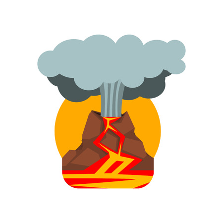 natural forces: Volcano Eruption Natural Force Flat Vector Simplified Style Graphic Design Icon Isolated On White Background