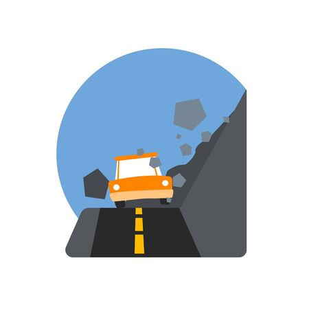 cataclysm: Rockslide Crushing The Car Natural Force Flat Vector Simplified Style Graphic Design Icon Isolated On White Background