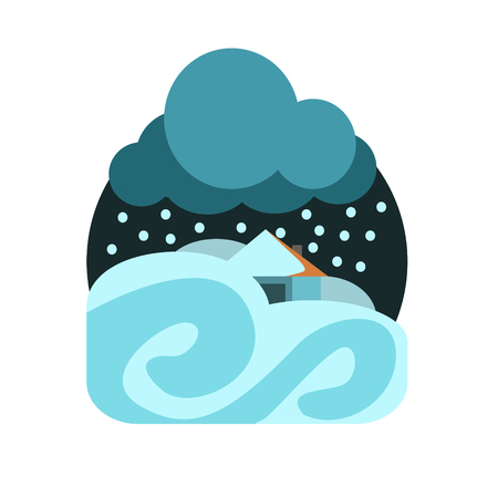 natural force: Heavy Snowstorm Natural Force Flat Vector Simplified Style Graphic Design Icon Isolated On White Background
