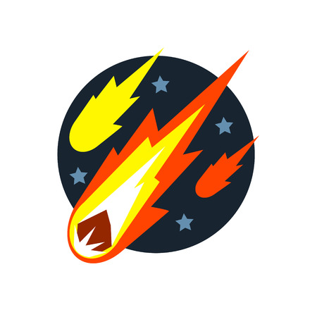 natural force: Falling Asteroids Natural Force Flat Vector Simplified Style Graphic Design Icon Isolated On White Background